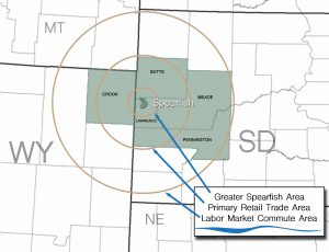 Map showing the retail trade area population of Spearfish.