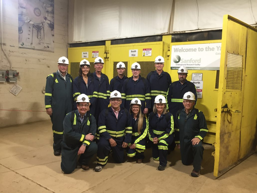 This photo shows the SEDC Board and staff touring the Sanford Deep Underground Research Facility.