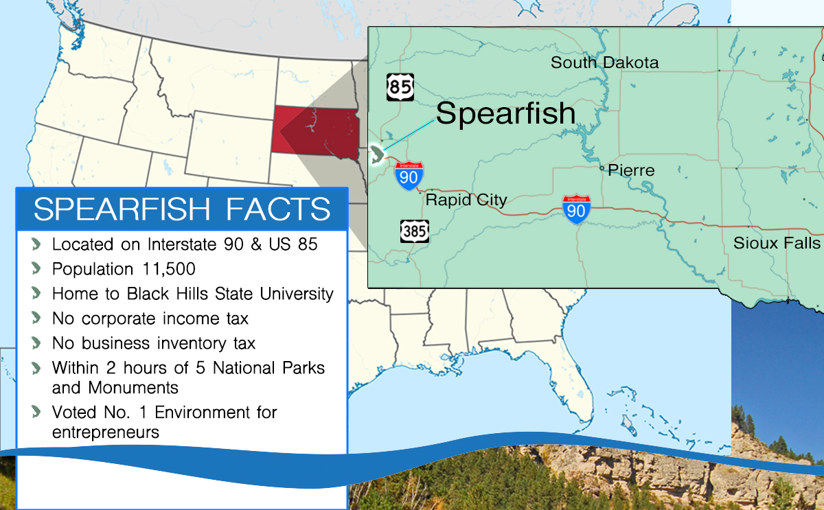 This is a map of the location of Spearfish, South Dakota.
